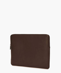Brown leather laptop sleeve 13""