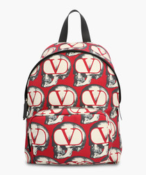 Multi-coloured pure cotton logo backpack
