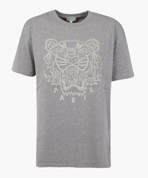 Pearl grey printed T-shirt