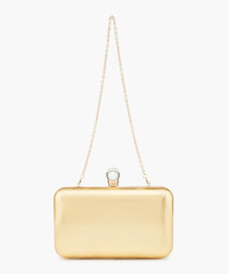 Gold-tone leather chain strap clutch