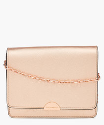 Rose gold-tone leather chain crossbody