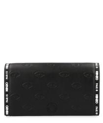 Black leather logo printed crossbody