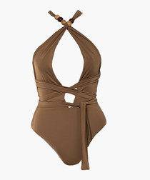 Annabel nude tie-up swimsuit