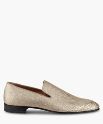 Gold-tone leather glittered loafers