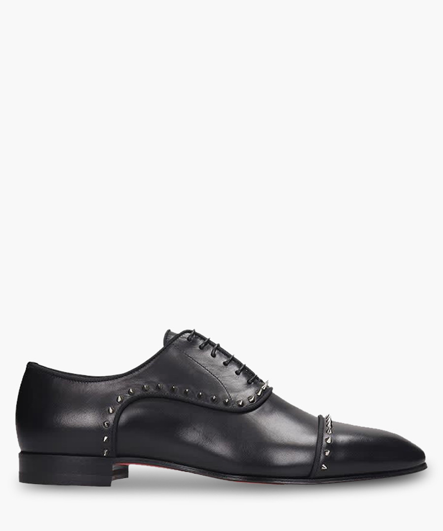 Black Leather Studded Oxfords by Christian Louboutin
