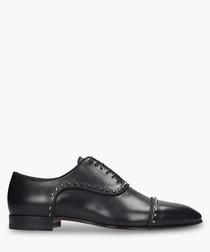 Black leather studded oxfords