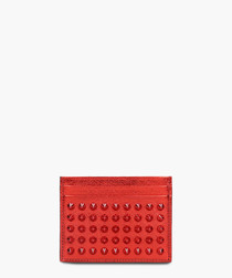 Red leather studded wallet