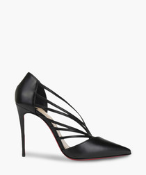 Black leather cut-out heels