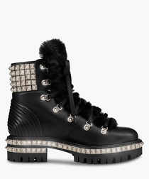 Yeti black leather studded ankle boots