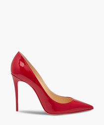 Red leather pointed heels