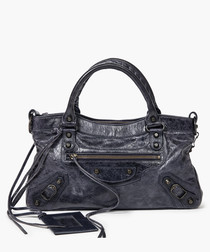 City grey distressed leather grab bag