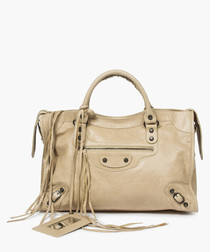 City light beige leather grab bag