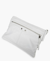 Classic Clip ivory leather clutch