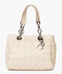 Lady ivory leather quilted shopper
