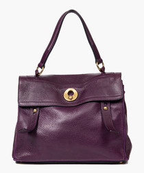 Muse 2 purple grained leather grab bag