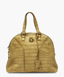 Oversized Muse light brown leather bag