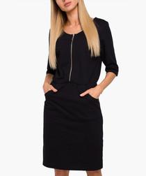 Black pure cotton zip-up mini dress