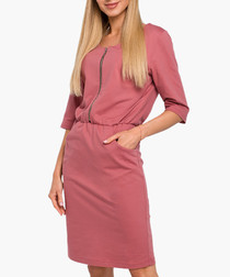 Rose pure cotton zip-up mini dress