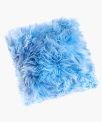 new zealand sheepskin cushion blue print