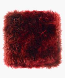 new zealand sheepskin cushion burgundy