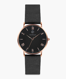rose gold-tone & black mesh watch