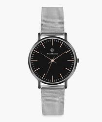 Black & silver-tone steel mesh watch