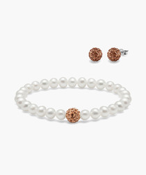 2pc White pearl bracelet & crystal studs