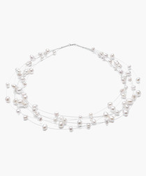 White Multi-Floater Necklace