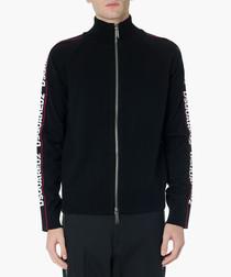 Black logo printed zip-up jacket